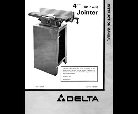 Rockwell Delta  In Deluxe Jointer Manual 1984