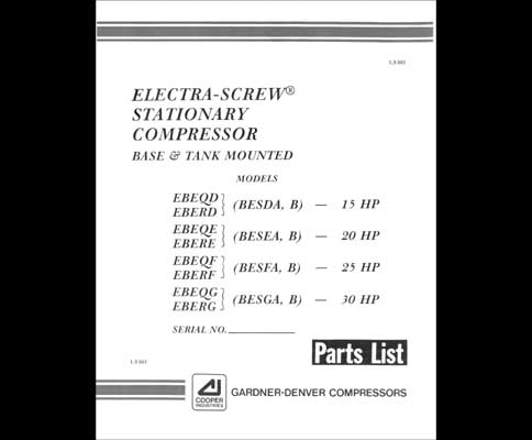 Gardner Denver Electra Screw Air Compressor Service Manual