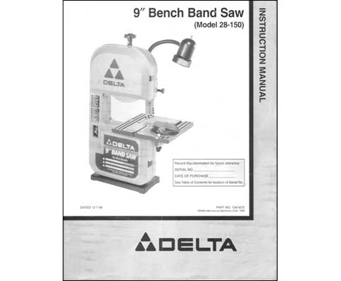 delta 9 inch bench band saw 28 150 parts ops manual. Black Bedroom Furniture Sets. Home Design Ideas